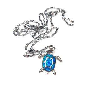 Sterling silver fire opal sea turtle necklace